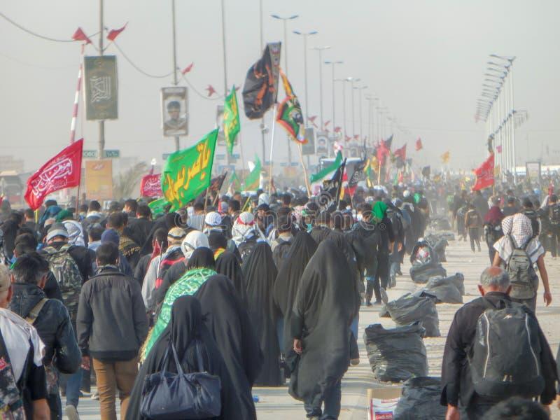 Arbiana-Wanderung, eine große globale Versammlung, Moslems auf der ganzen Welt, Millionen Frauen und Männer, eine religiöse Be stockfotos