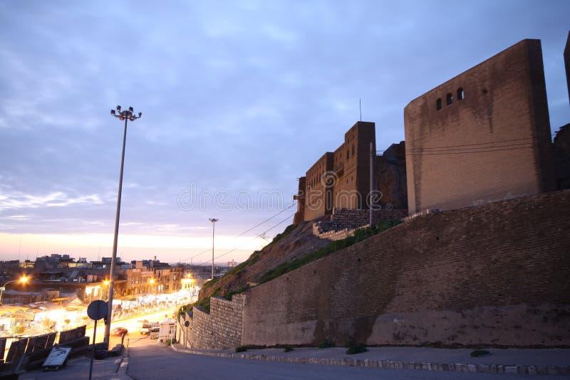 Arbil bij Nacht stock afbeeldingen