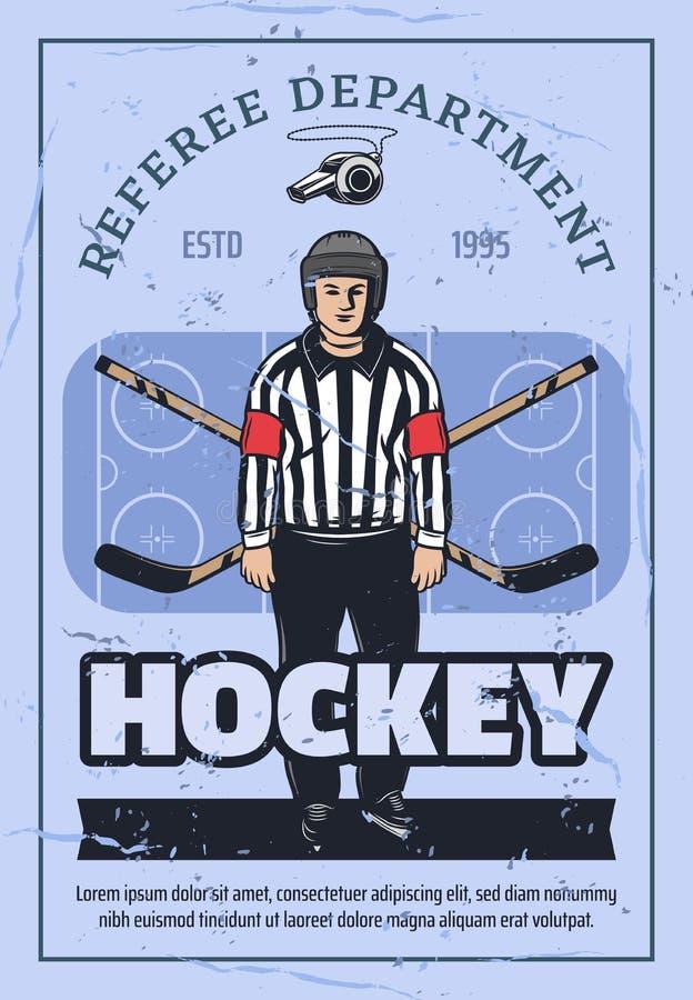 Arbiter na łyżwach, hokeja na lodzie sport royalty ilustracja