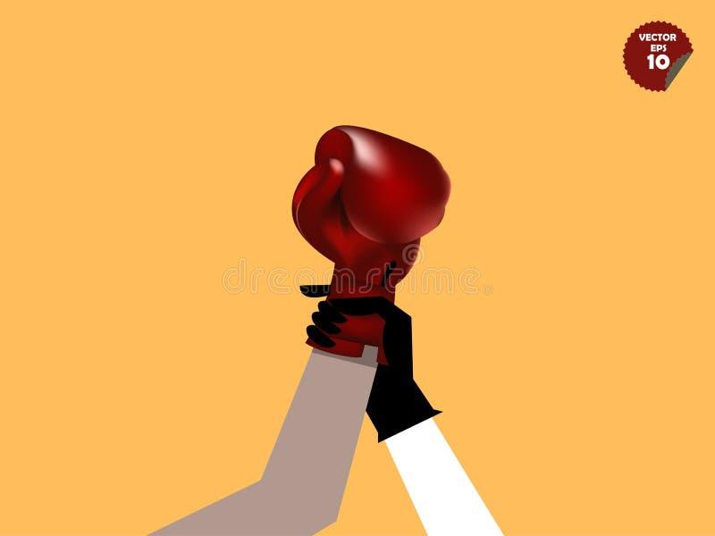 Arbiter oznajmia bokserskiego zwycięzcy, zwycięzcy pojęcie ilustracja wektor