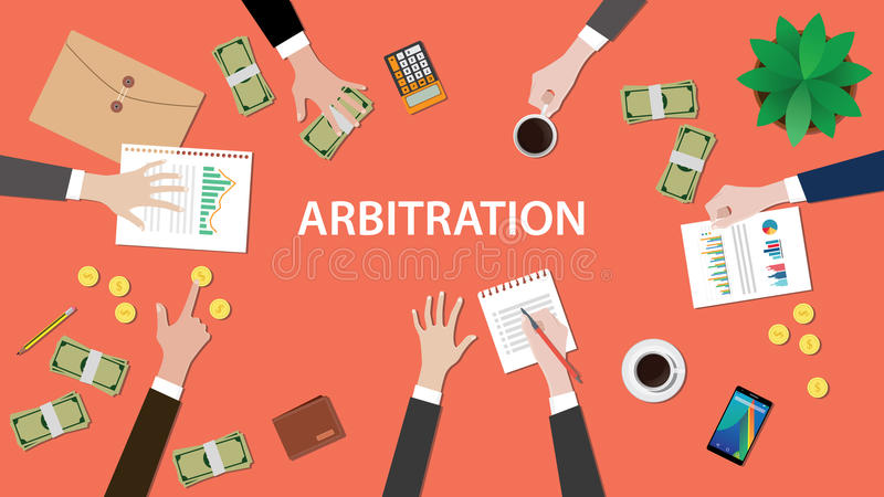 Arbitration concept illustration with people discuss in a meeting with paperworks, money, coins and folder document on vector illustration