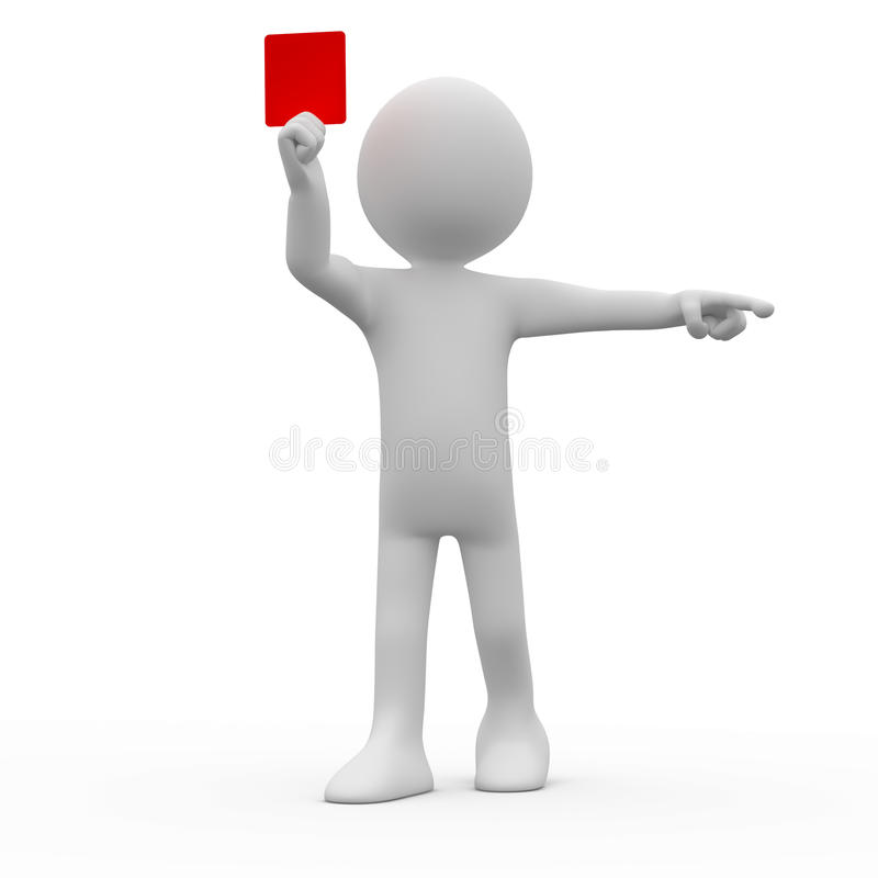 Arbitre affichant la carte rouge illustration stock