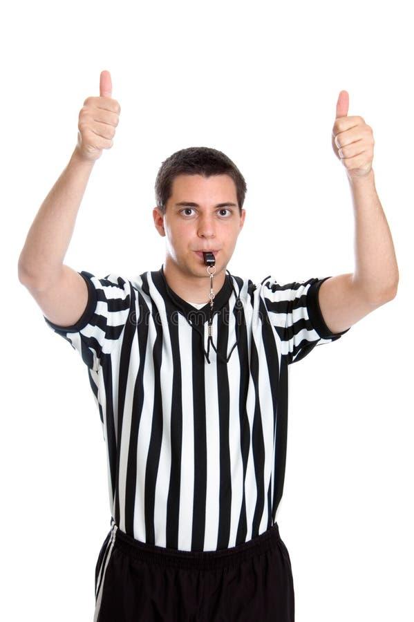 Arbitre de l'adolescence de basket-ball donnant le signe de bille de saut photo stock