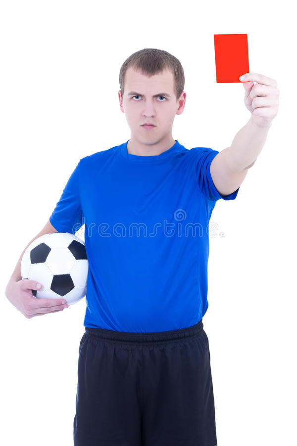Arbitre du football montrant la carte de pénalité d'isolement photos stock