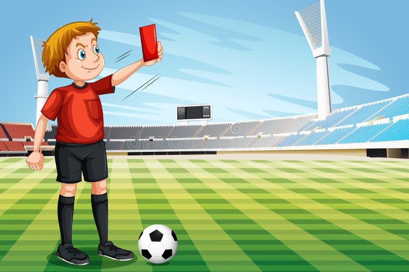 Arbitre montrant la carte rouge dans le terrain de football illustration libre de droits