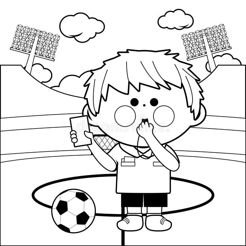 Arbitro di calcio ad uno stadio Pagina di coloritura illustrazione di stock