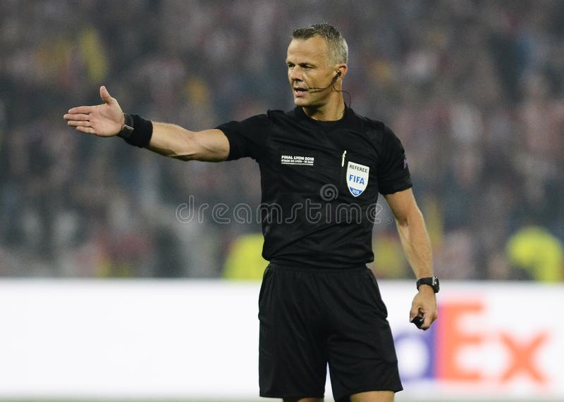 Arbitro olandese Bjorn Kuipers fotografia stock libera da diritti