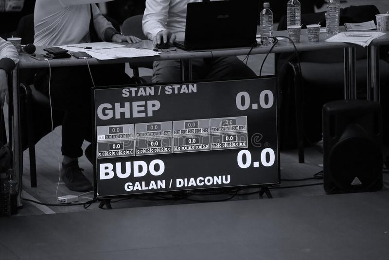 Arbitrzy przy Rumuńskim mistrzostwem, juniory, Maj 2018 obraz royalty free
