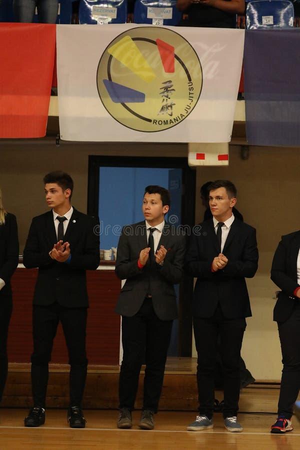 Arbitrzy przy Rumuńskim mistrzostwem, juniory, Maj 2018 zdjęcie stock