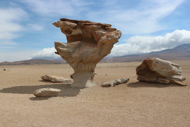 Arbol de Piedra, den Atacama öknen - stena trädet arkivbilder