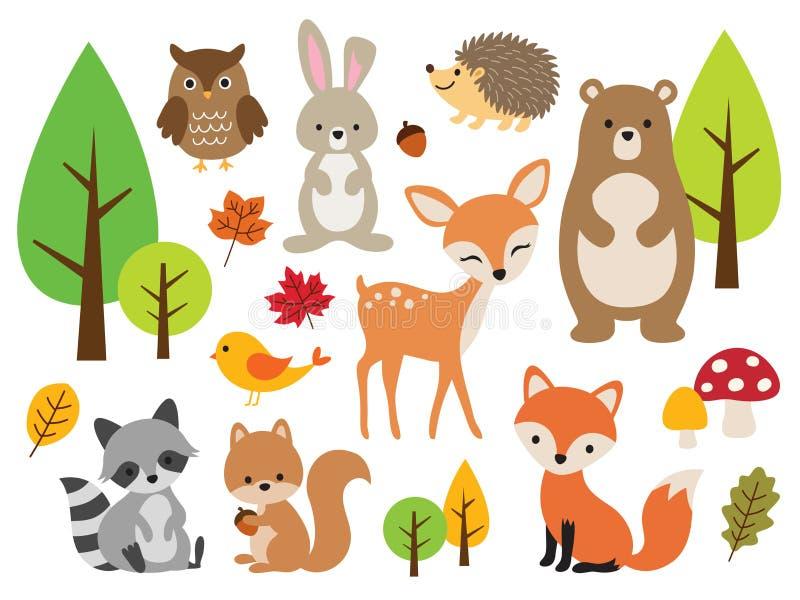 Arbolado lindo Forest Animal Vector Illustration Set ilustración del vector