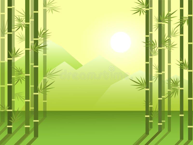 Arboleda de bambú del bosque en el fondo de montañas y del sol naciente Ejemplo plano de la historieta stock de ilustración