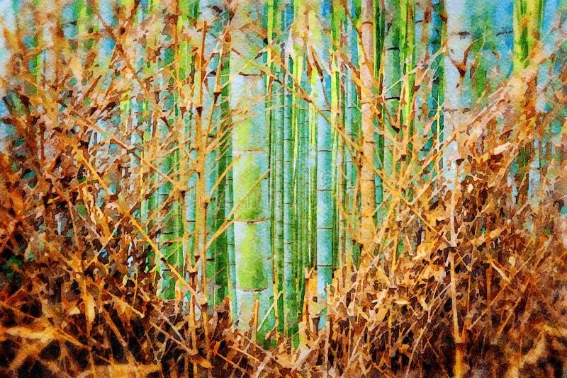 Arboleda de bambú en Arashiyama, Kyoto, Japón stock de ilustración