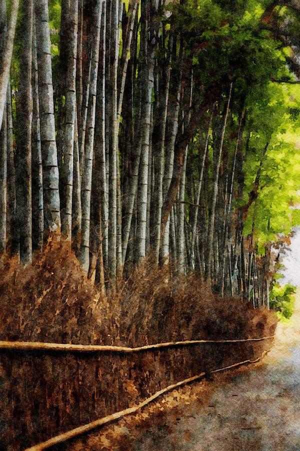 Arboleda de bamb? en Arashiyama, Kyoto, Jap?n ilustración del vector