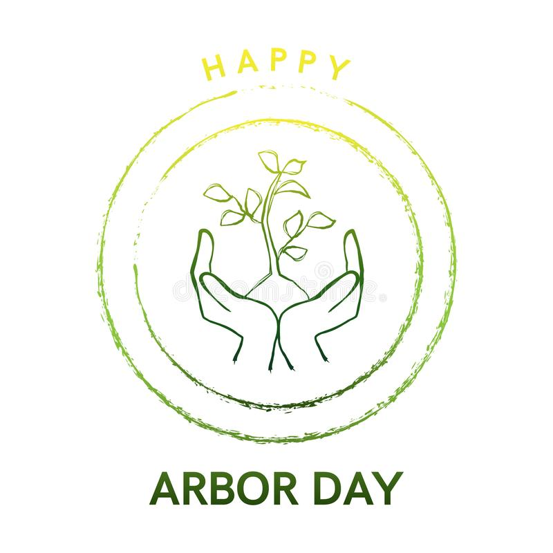 Arbor Day logo with tree and hands vector illustration