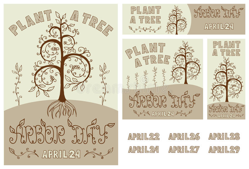 Arbor Day Set of Hand Drawn Poster, Card, Flyer and Banner stock photography