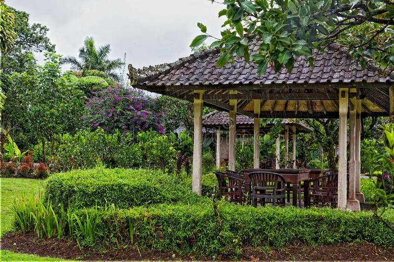 Arbor In Thickets Of Tropical Plants Stock Photo