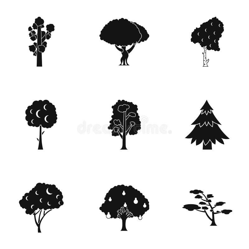 Arboreal установленные значки, простой стиль завода иллюстрация вектора