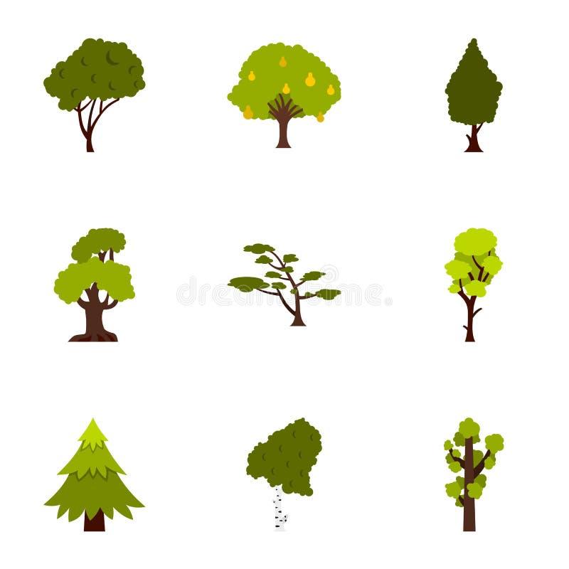 Arboreal установленные значки, плоский стиль завода иллюстрация штока