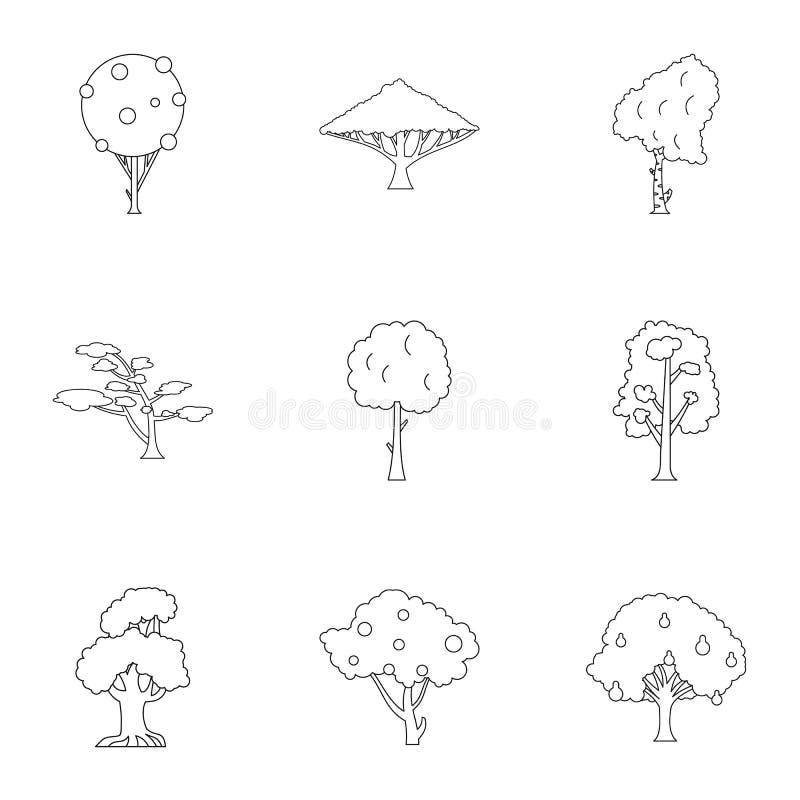 Arboreal установленные значки, стиль завода плана иллюстрация вектора