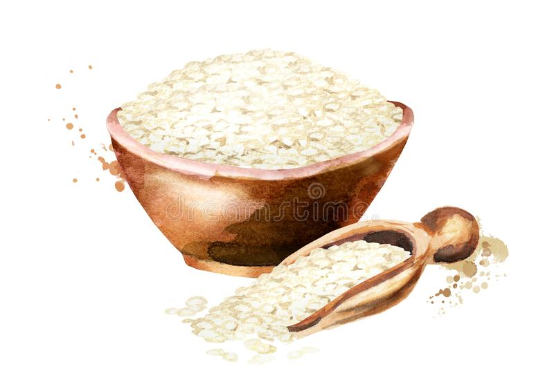 Arborio Rice in a bowl. Watercolor hand drawn illustration, isolated on white background. Arborio Rice in a bowl. Watercolor hand drawn illustration, isolated stock image