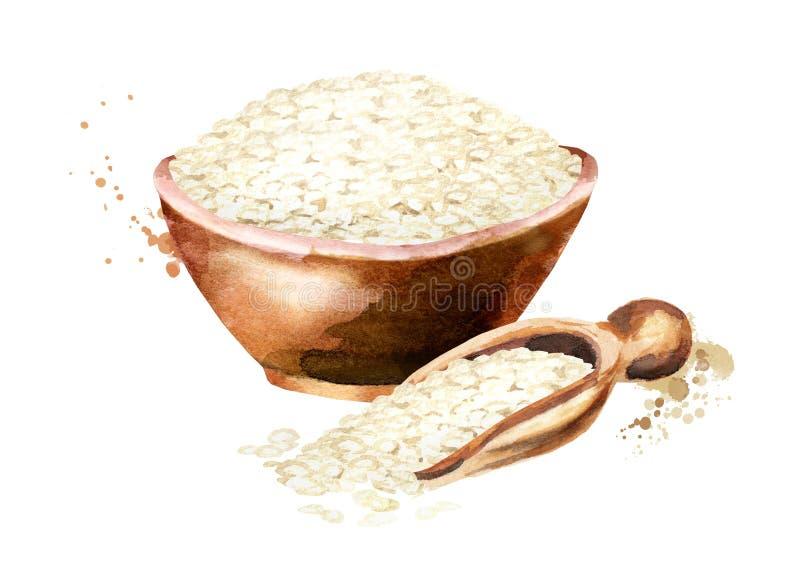 Arborio Rice w pucharze Akwareli ręka rysująca ilustracja, odizolowywająca na białym tle obraz stock