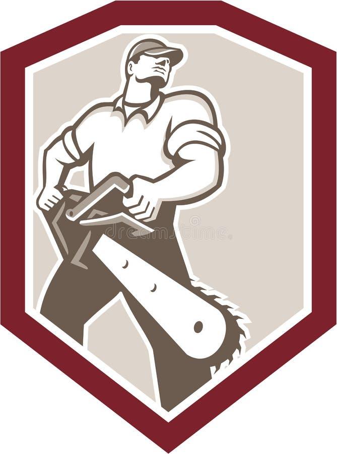 Arborista Holding Chainsaw Shield del leñador stock de ilustración