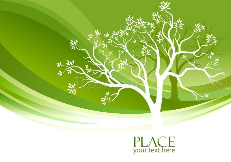 Arbre abstrait à l'arrière-plan vert olive illustration libre de droits