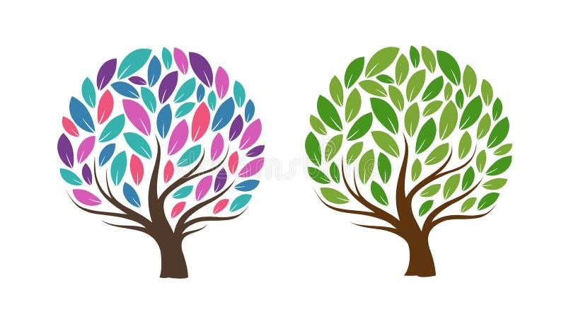Arbre abstrait avec des lames Écologie, produit naturel, icône ou logo Illustration de vecteur illustration libre de droits