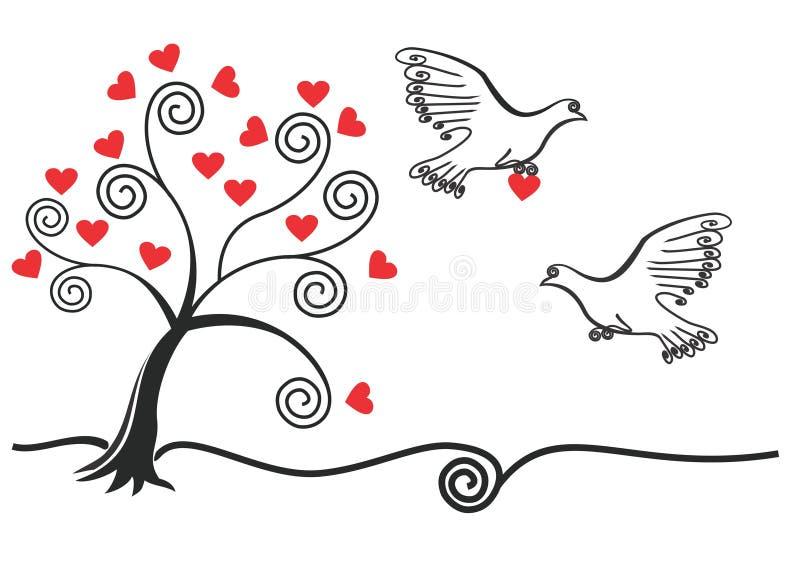 Arbre abstrait avec, pigeon, coeur illustration stock
