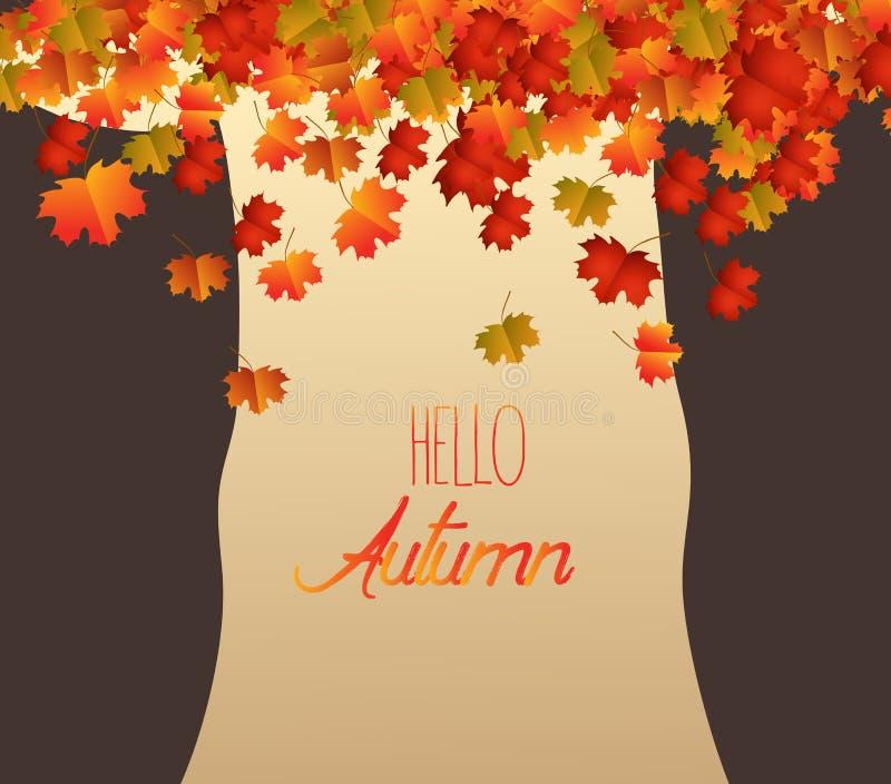 Arbre abstrait, chute de feuilles d'automne de 'brownie' illustration de vecteur
