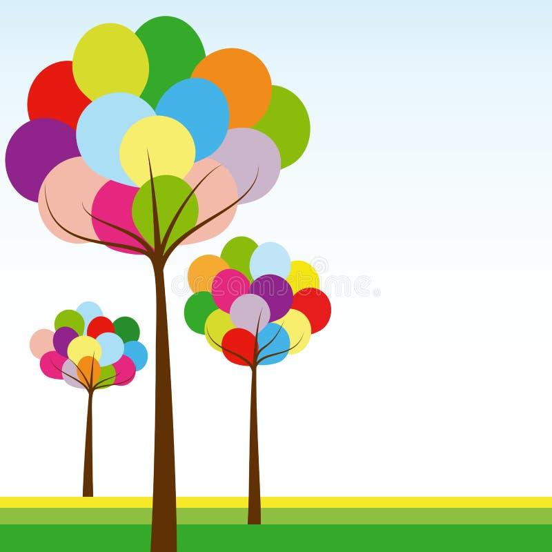 Arbre abstrait de couleur d'arc-en-ciel de printemps illustration libre de droits