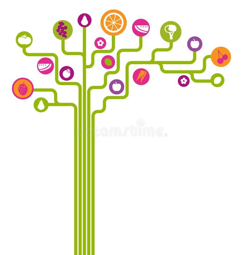 Arbre abstrait de fruits et légumes d'icône
