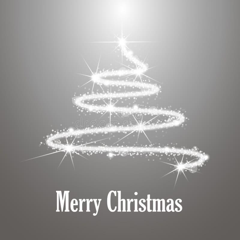 Arbre abstrait de Joyeux Noël sur le fond argenté Dessin d'étincelles illustration de vecteur