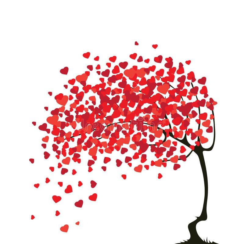 Arbre abstrait de Valentines avec des coeurs illustration libre de droits