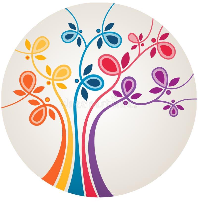Arbre abstrait multicolore illustration stock