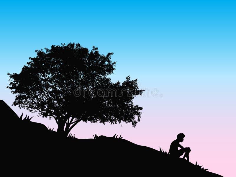 Arbre au coucher du soleil illustration libre de droits
