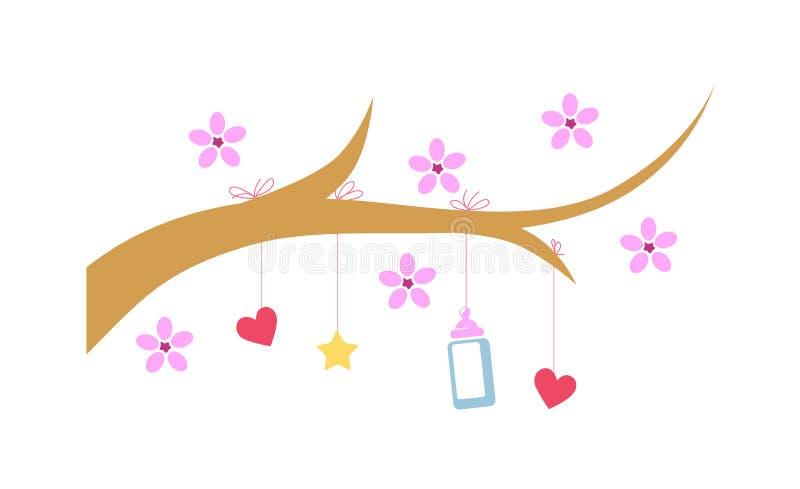 Arbre avec des coeurs et des fleurs illustration de vecteur