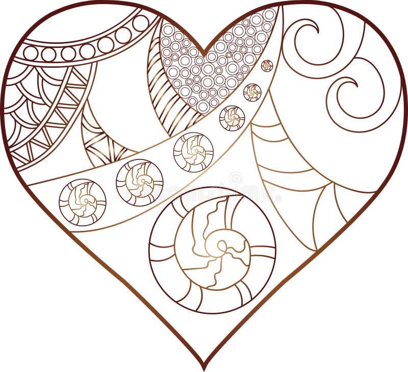 Arbre avec des feuilles, couronne de forme de coeur illustration stock