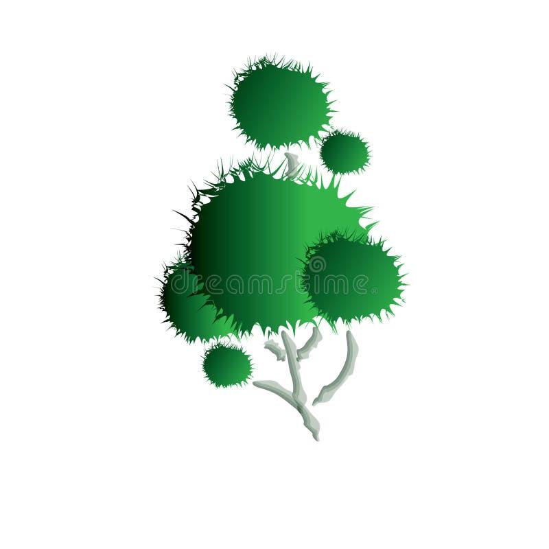 Arbre avec la conception verte d'illustration de feuille illustration de vecteur