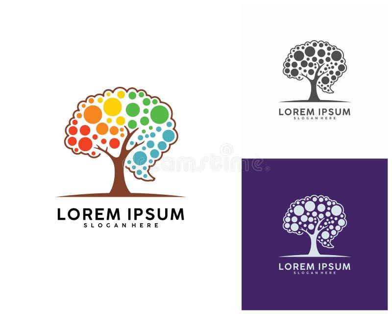 Arbre avec le calibre de conception de logo de cerveau, vecteur de conception de logo de Brain Colorful illustration stock