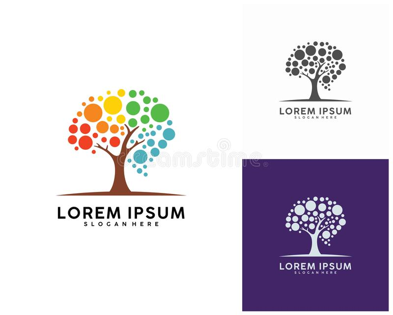 Arbre avec le calibre de conception de logo de cerveau, vecteur de conception de logo de Brain Colorful illustration de vecteur