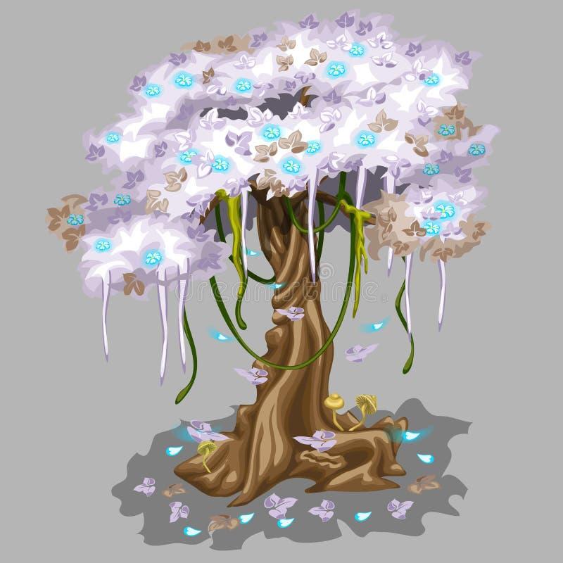 Arbre avec le feuillage rose et les feuilles en baisse bleues illustration de vecteur