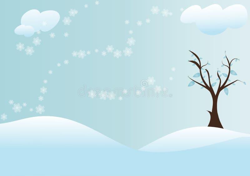 Arbre avec le fond de neige illustration libre de droits