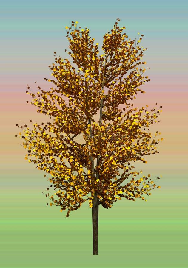 Arbre avec les feuilles jaunes sur un fond de gradient Feuillage d'automne Préparation d'un arbre pour le concepteur illustration illustration de vecteur