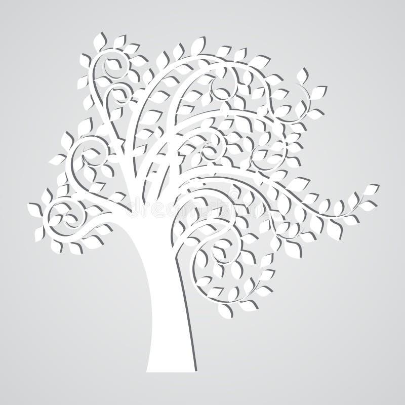 Arbre blanc abstrait avec l'ombre simple illustration de vecteur