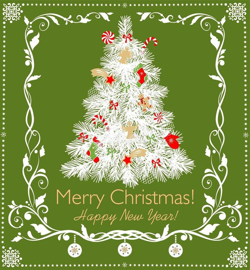Arbre blanc de coupure de papier de Noël avec les bonbons, la sucrerie, les anges, l'étoile et le pain d'épice, les flocons de ne illustration libre de droits