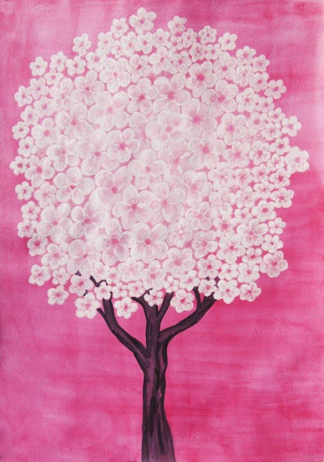Arbre blanc sur le fond rose, peinture d'aquarelle photographie stock libre de droits