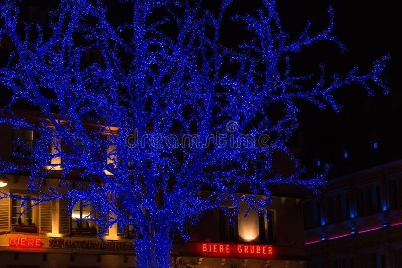Arbre bleu lumineux à l'endroit Gutenberg pendant la saison de Noël photographie stock libre de droits