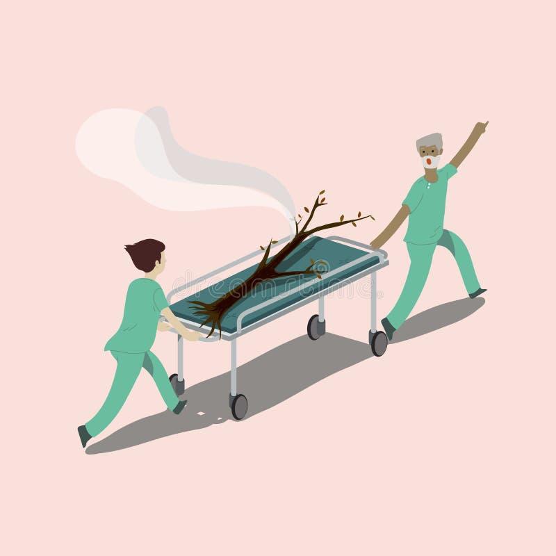 Arbre brûlé sauvé par l'équipe d'urgence, se précipitant vers l'UTI Sauvetage du concept d'environnement illustration libre de droits